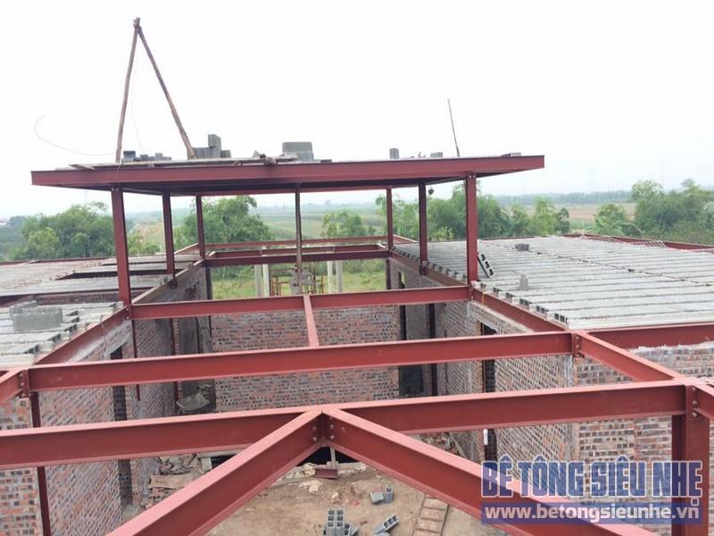 Thi công nhà khung thép kết hợp bê tông nhẹ tại Long Biên, Hà Nội