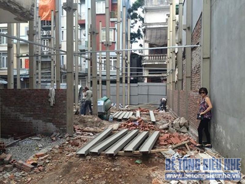 Thi công nhà khung thép kết hợp bê tông siêu nhẹ tại ngõ 93 Khương Hạ, Thanh Xuân, Hà Nội