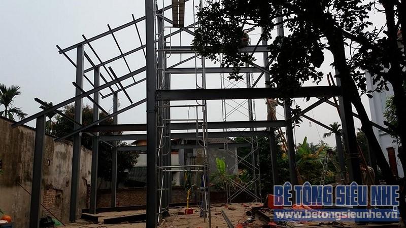 Dựng khung nhà khung thép tiền chế công trình nhà biệt thự tại Võng La - 05