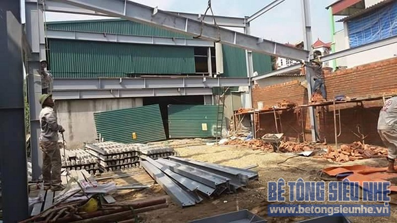 Thi công nhà khung thép 2 tầng sàn bê tông nhẹ cho nhà văn phòng tại Hưng Yên - 03