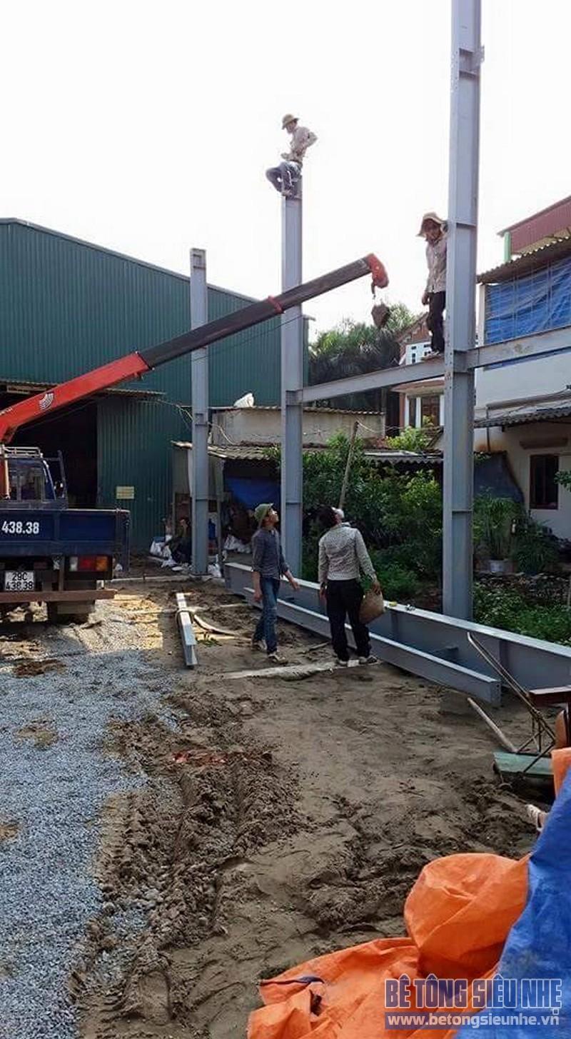 Thi công nhà khung thép 2 tầng sàn bê tông nhẹ cho nhà văn phòng tại Hưng Yên - 02