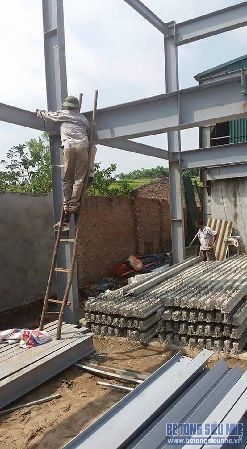 Thi công nhà khung thép 2 tầng sàn bê tông nhẹ cho nhà văn phòng tại Hưng Yên - 04