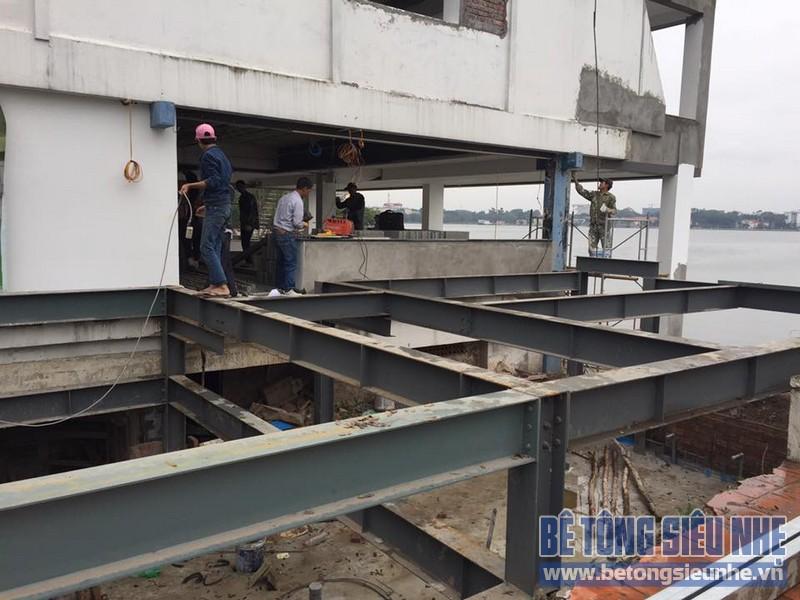 Thi công nhà khung thép kết hợp bê tông nhẹ cho quán đồ ăn nhanh ven hồ Hà Nội