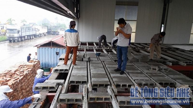 Thi công sàn bê tông nhẹ cho văn phòng công ty ô tô Hải Âu tại Hưng Yên