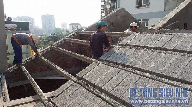 Thi công sàn bê tông nhẹ làm mái chéo công trình nhà dân dụng tại Lê Đức Thọ