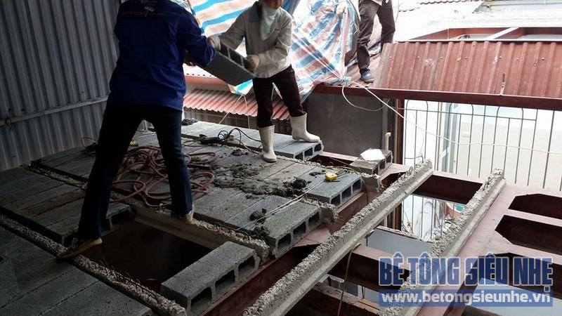 Thi công sàn bê tông siêu nhẹ cho nhà anh Tuấn tại Sóc Sơn