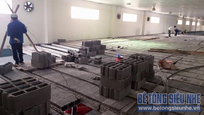 Thi công sửa nhà kho thuốc bằng sàn bê tông nhẹ của Công ty Hanvet Hưng Yên