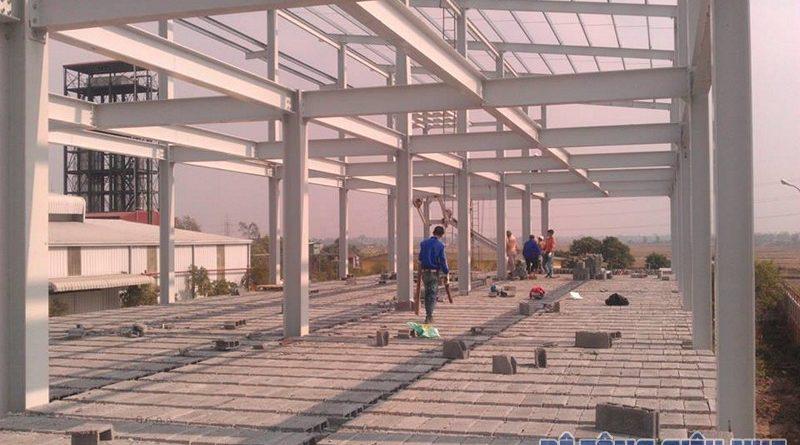 Thi công sàn bê tông nhẹ cho nhà khung thép 3 tầng của Công ty AROMA, Mỹ Hào - Hưng Yên