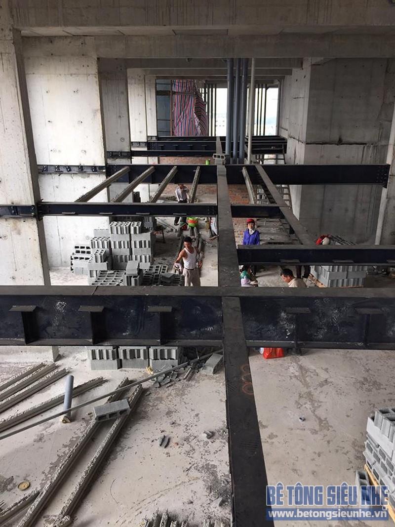 Quy trình thi công làm sàn bê tông siêu nhẹ, công trình tại Vĩnh Phúc