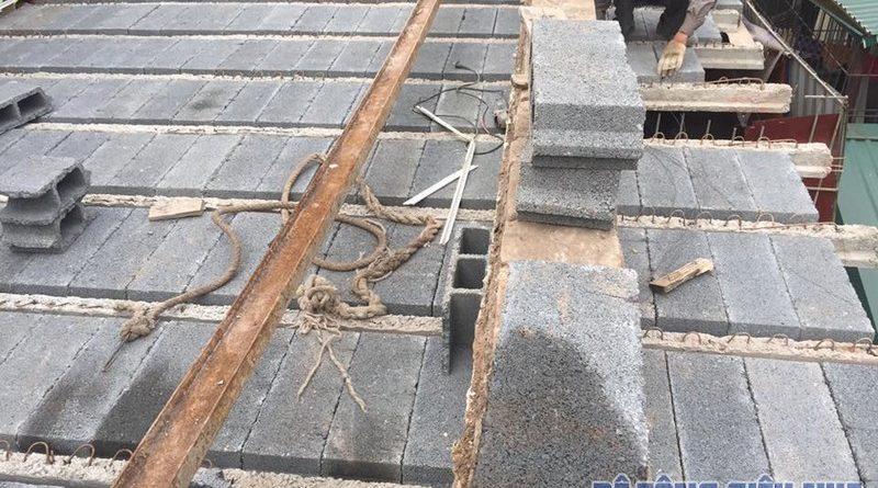 Thi công sàn bê tông siêu nhẹ ngõ 124 Hồ Tùng Mậu