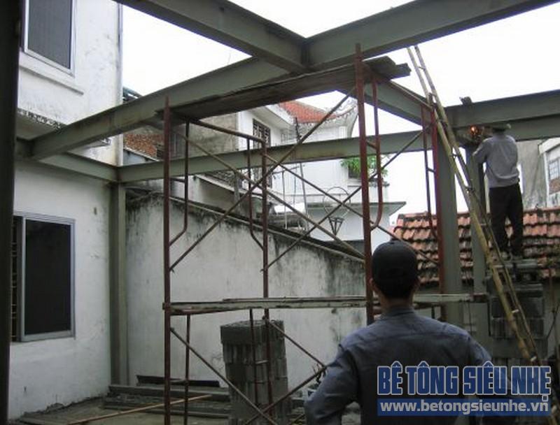 Thi công nhà khung thép tại Thạch Đà, Mê Linh, Hà Nội