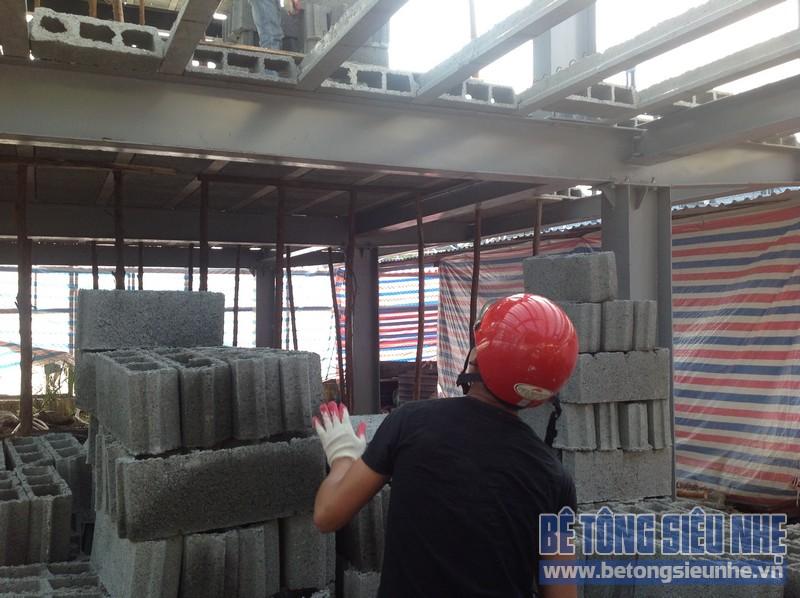 Thi công nhà khung thép, sàn bê tông nhẹ tại Ngọc Thụy, Long Biên