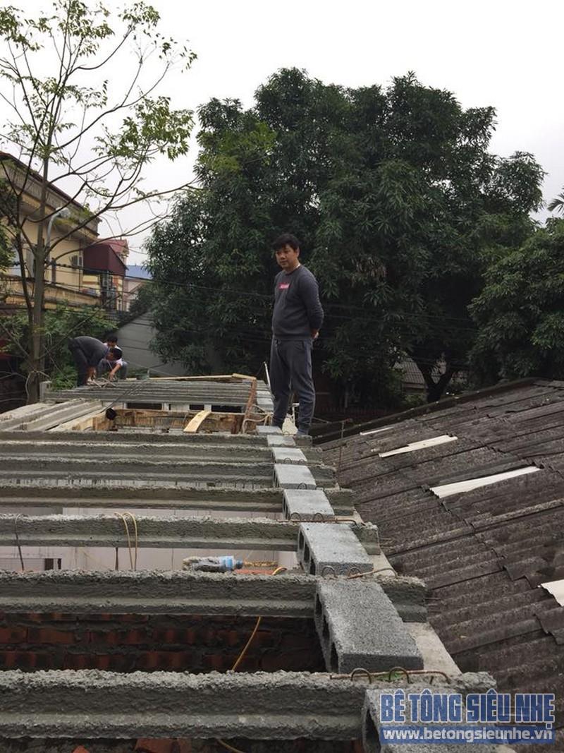 Thi công sàn bê tông siêu nhẹ làm mái nhà cho gia đình anh Doanh, Sóc Sơn, Hà Nội - 01