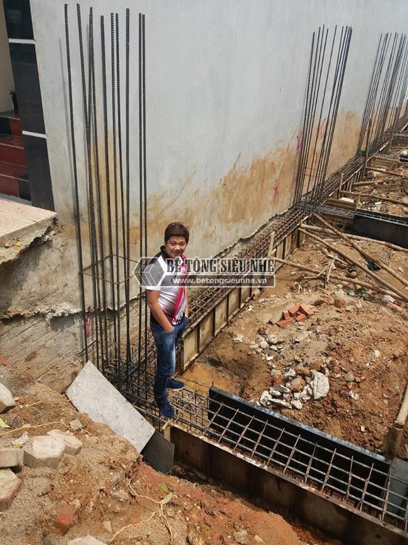 Thi công phần móng để dựng nhà khung thép tại công trình nhà anh Thu, Ba Vì, Hà Nội -01