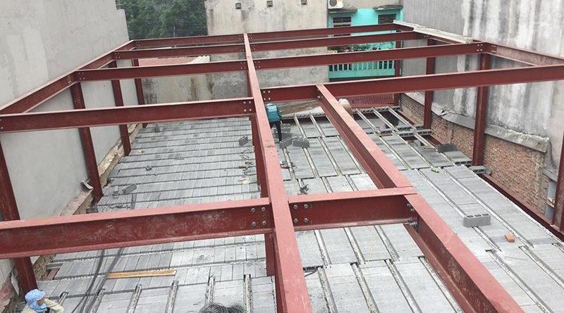 Dựng nhà khung thép đổ trần sàn bê tông nhẹ lắp ghép nhà xưởng ở Bắc Ninh