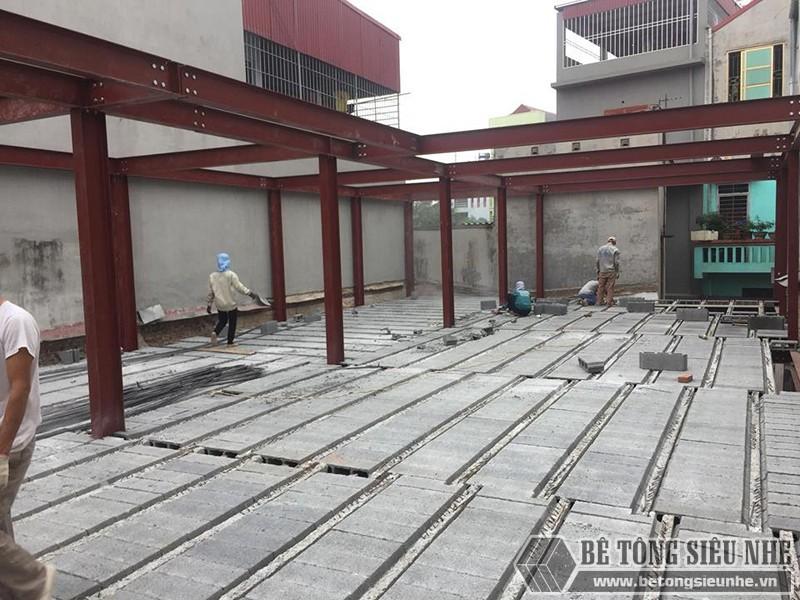 Dựng nhà khung thép đổ trần sàn bê tông nhẹ lắp ghép nhà xưởng ở Bắc NinhDựng nhà khung thép đổ trần sàn bê tông nhẹ lắp ghép nhà xưởng ở Bắc Ninh