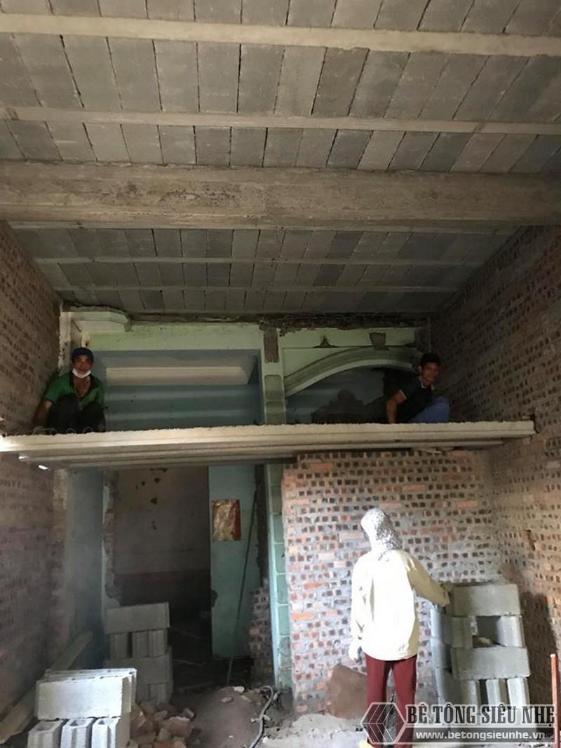 Cơi nới nhà, đổ trần bằng sàn bê tông nhẹ lắp ghép nhà anh Hiếu
