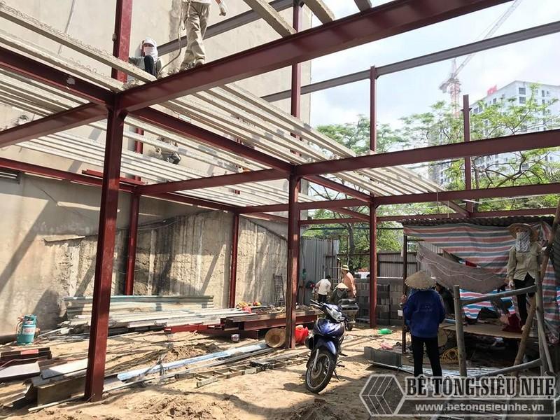 Thi công nhà khung thép, sàn bê tông nhẹ tại Xuân La, Tây Hồ, Hà Nội - 01
