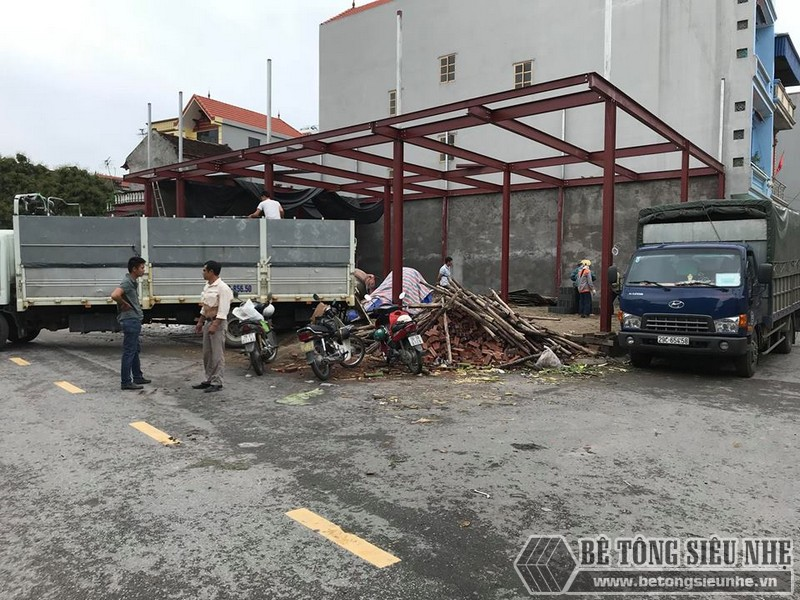 Thi công nhà khung thép và sàn bê tông nhẹ tại xã Trung Mầu, Gia Lâm, Hà Nội - 01