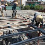 Thi công nhà khung thép và sàn bê tông nhẹ tại xã Trung Mầu, Gia Lâm, Hà Nội