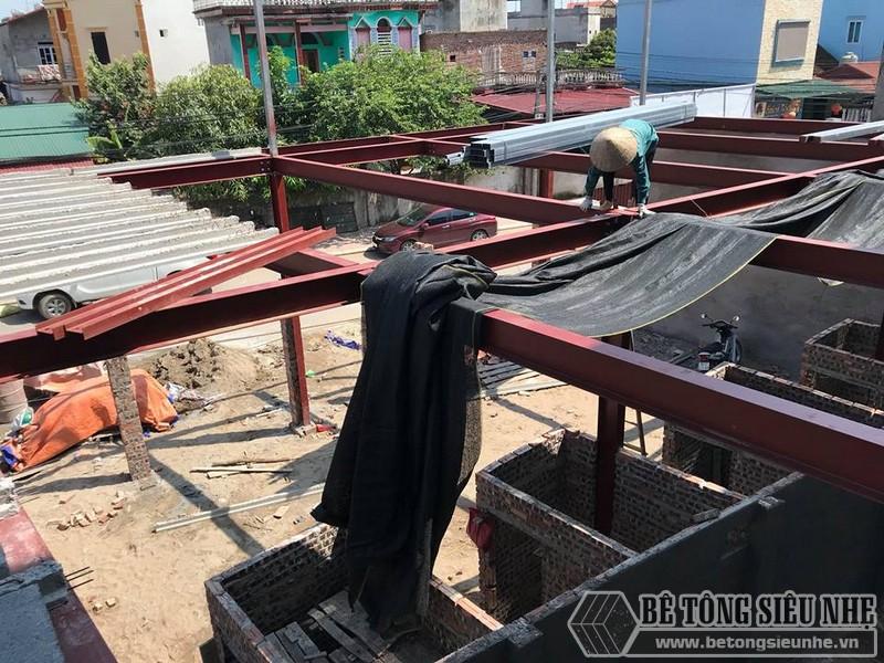 Thi công nhà khung thép và sàn bê tông nhẹ tại xã Trung Mầu, Gia Lâm, Hà Nội - 09