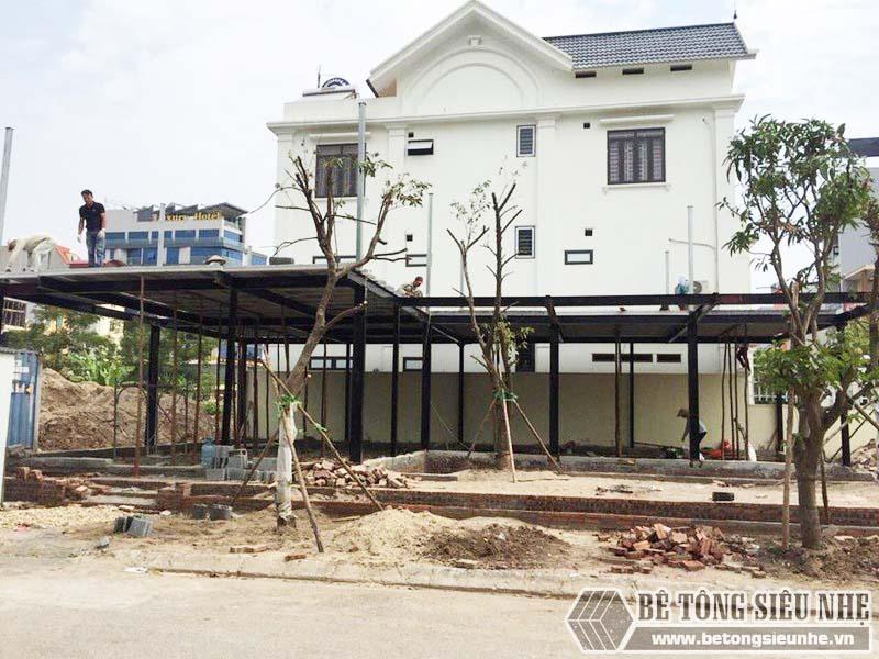 Thi công hệ khung thép tiền chế và sàn bê tông nhẹ tại Thanh Trì, Hà Nội nhà anh Mong - 02