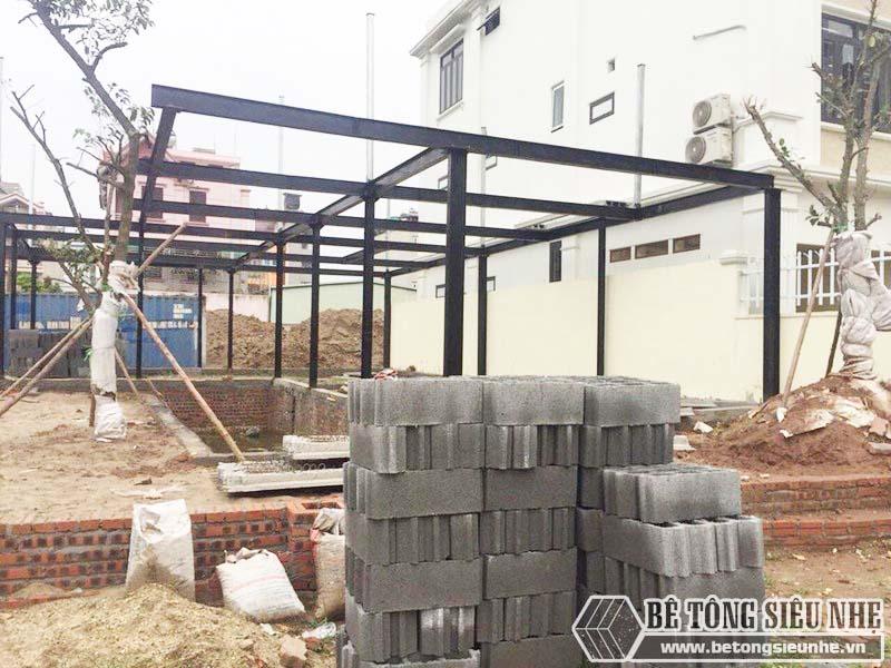 Thi công hệ khung thép tiền chế và sàn bê tông nhẹ tại Thanh Trì, Hà Nội nhà anh Mong - 01