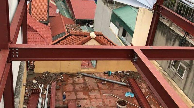 Thi công khung thép tiền chế để nâng tầng cho nhà anh Hiệu, Hoàng Mai, Hà Nội - 03