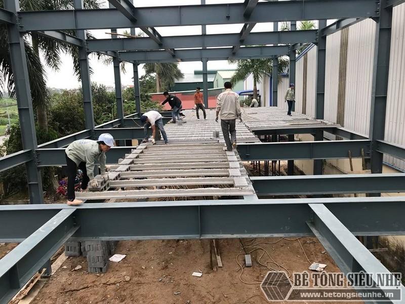 Lắp dựng nhà khung thép, thi công sàn bê tông nhẹ tại Thanh Trì, Hà Nội - 01