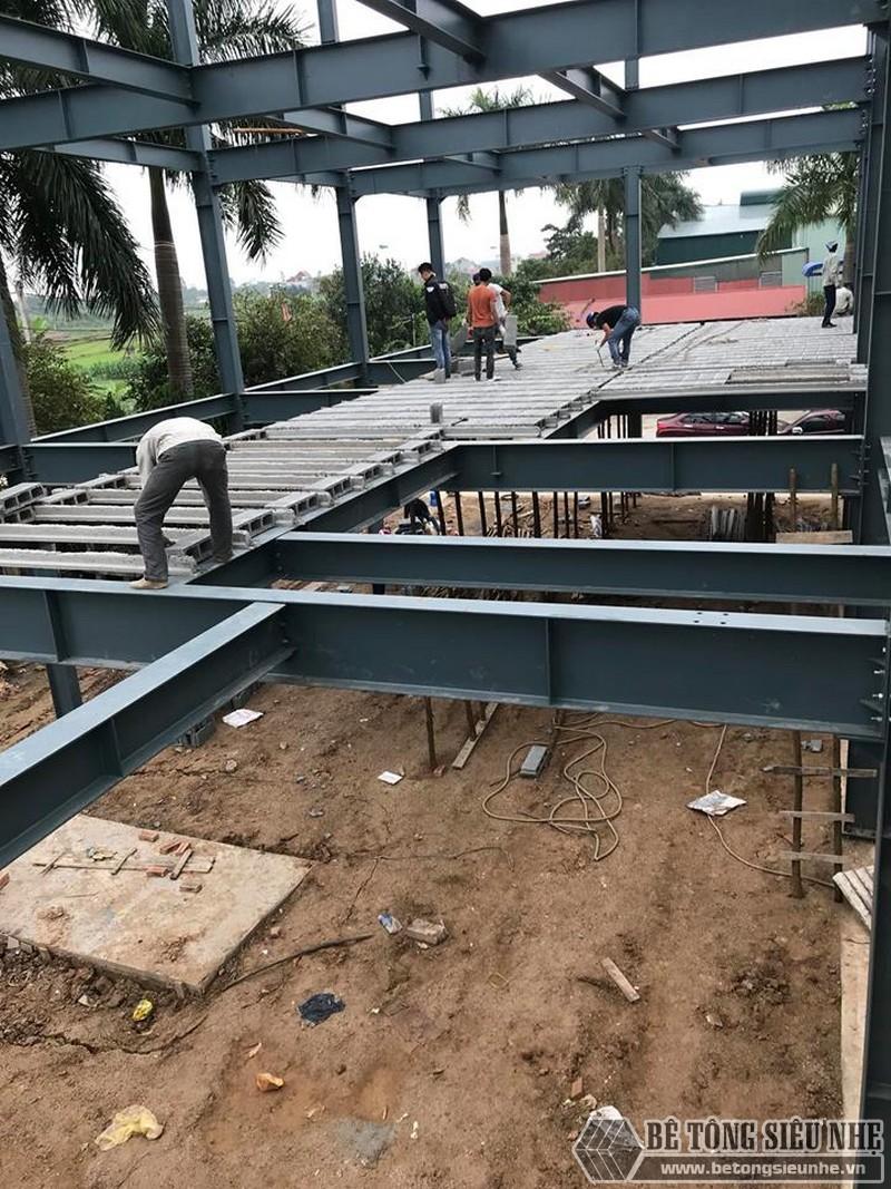 Lắp dựng nhà khung thép, thi công sàn bê tông nhẹ tại Thanh Trì, Hà Nội - 03