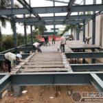 Lắp dựng nhà khung thép, thi công sàn bê tông nhẹ tại Thanh Trì, Hà Nội P1