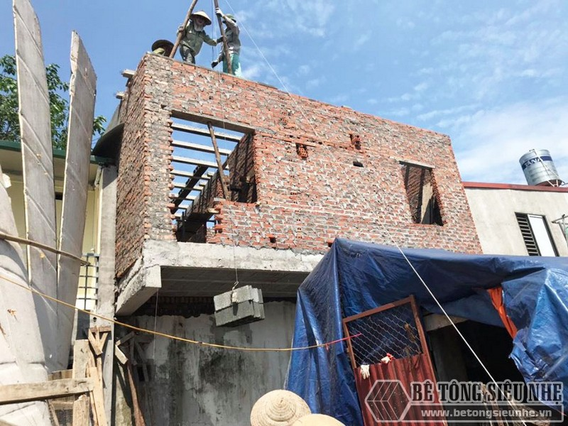 Công trình nâng tầng bằng bê tông siêu nhẹ nhà chị Hoài, Phú Diễn, Bắc Từ Liêm, Hà Nội - 05