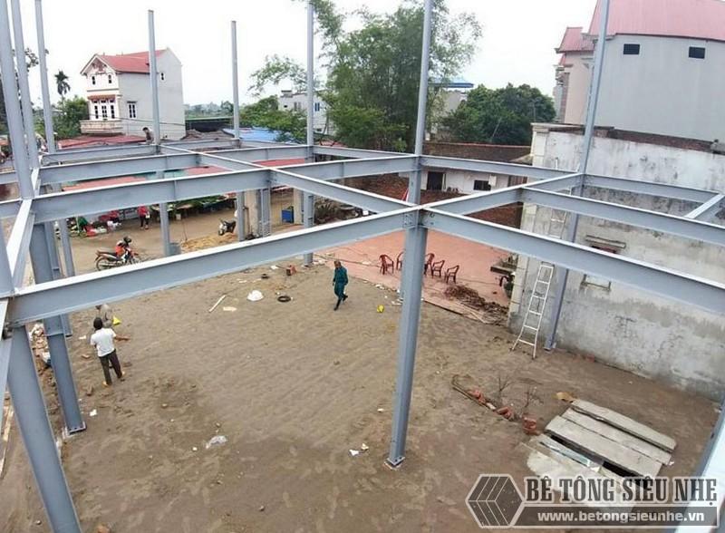 Làm nhà khung thép 2 tầng và sàn bê tông nhẹ cực nhanh tại Sóc Sơn, Hà Nội - 01