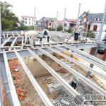 Làm nhà khung thép 2 tầng và sàn bê tông nhẹ cực nhanh tại Sóc Sơn, Hà Nội