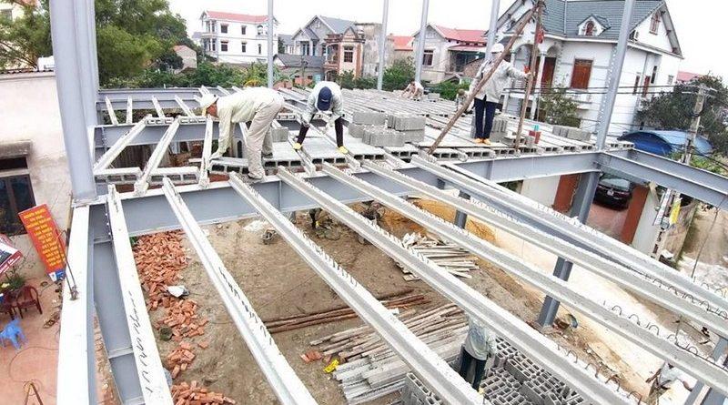 Làm nhà khung thép 2 tầng và sàn bê tông nhẹ cực nhanh tại Sóc Sơn, Hà Nội - 02