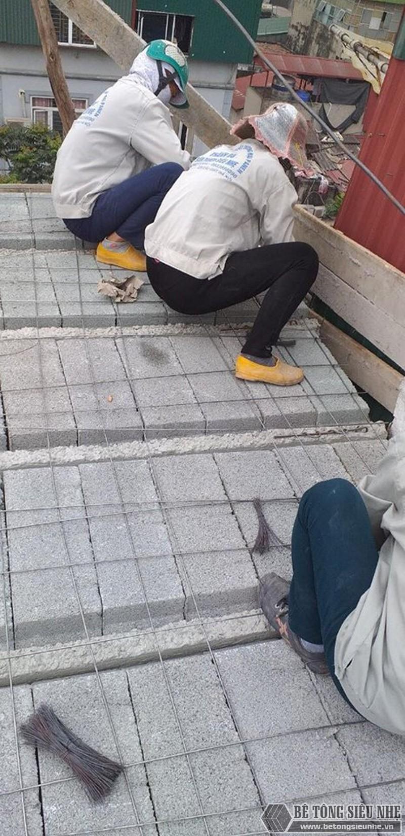 Hình ảnh thi công sàn bê tông nhẹ tại nhà anh Điến, Hoàng Mai, Hà Nội