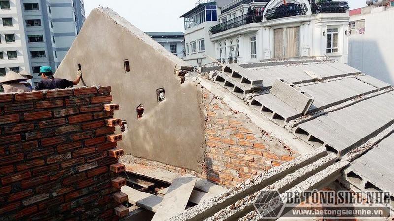 Nâng tầng, làm mái nhà bằng bê tông siêu nhẹ tại Gia Lâm, Hà Nội nhà anh Kiên - 03