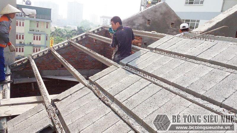 Nâng tầng, làm mái nhà bằng bê tông siêu nhẹ tại Gia Lâm, Hà Nội nhà anh Kiên - 06