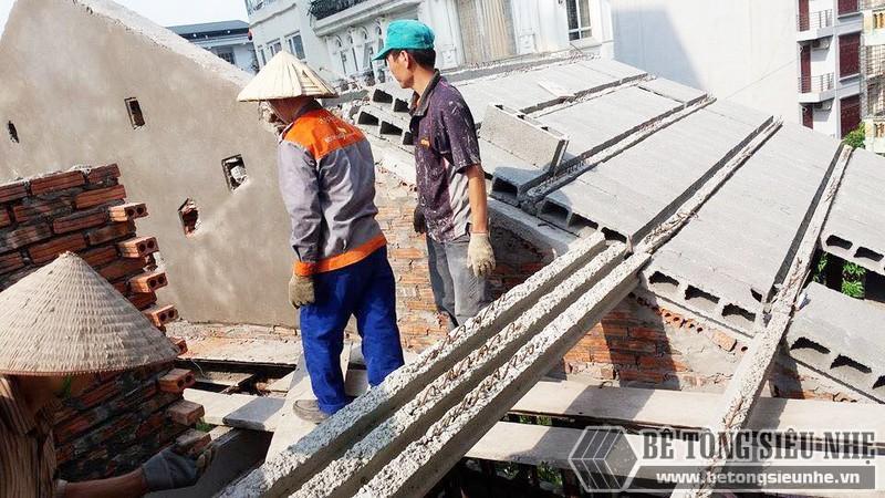 Nâng tầng, làm mái nhà bằng bê tông siêu nhẹ tại Gia Lâm, Hà Nội nhà anh Kiên - 07