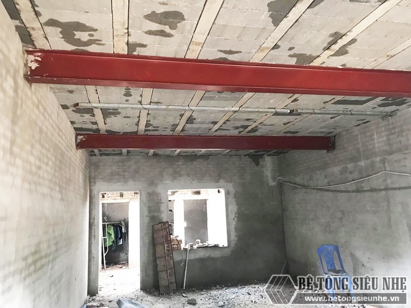Công trình thực tế xây nhà bằng khung thép tiền chế và sàn bê tông nhẹ tại Thanh Xuân, Hà Nội - 02