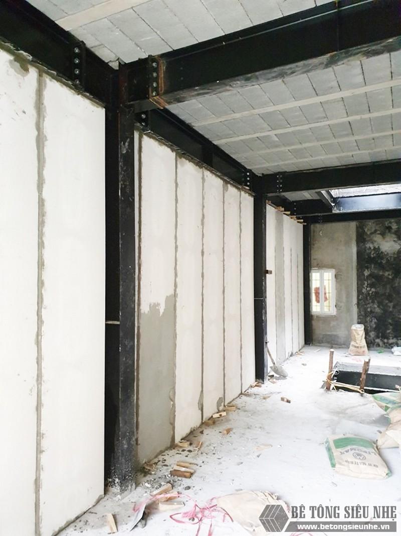 Nhà lắp ghép toàn phần sử dụng khung thép tiền chế, sàn bê tông nhẹ và tấm tường bê tông siêu nhẹ lắp ghép
