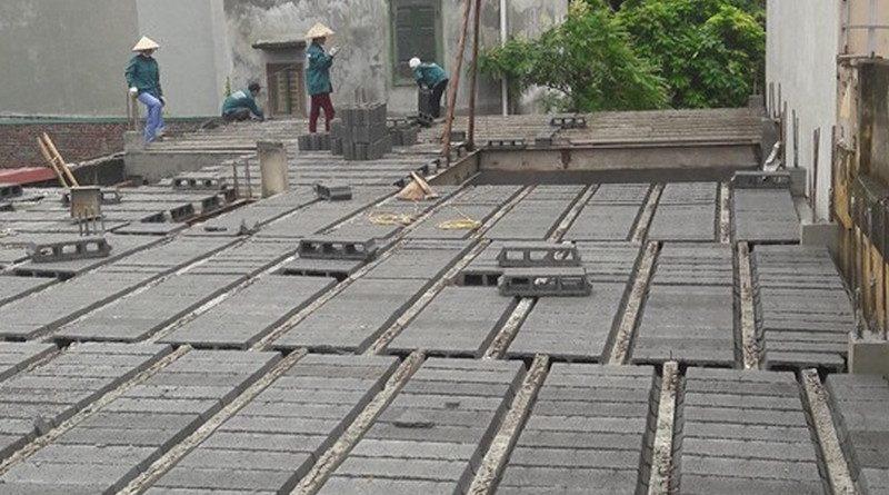 Lắp ghép bê tông nhẹ tại công trình nhà anh Thư