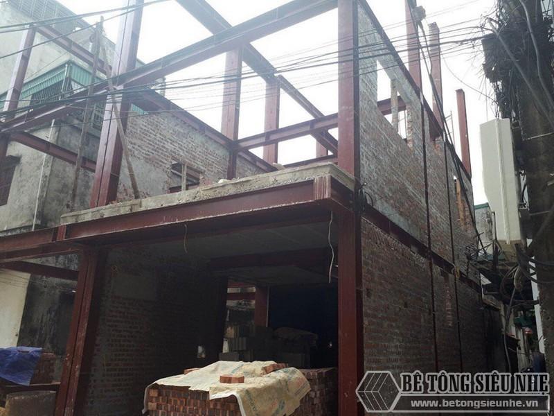 Xây tường gạch với công trình khung thép tiền chế - công trình thực tế của betongsieunhe.vn tại Hà Nội