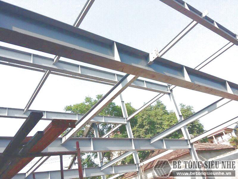 Báo giá thi công nhà khung thép kết hợp sàn bê tông nhẹ và tấm tường panel 2019