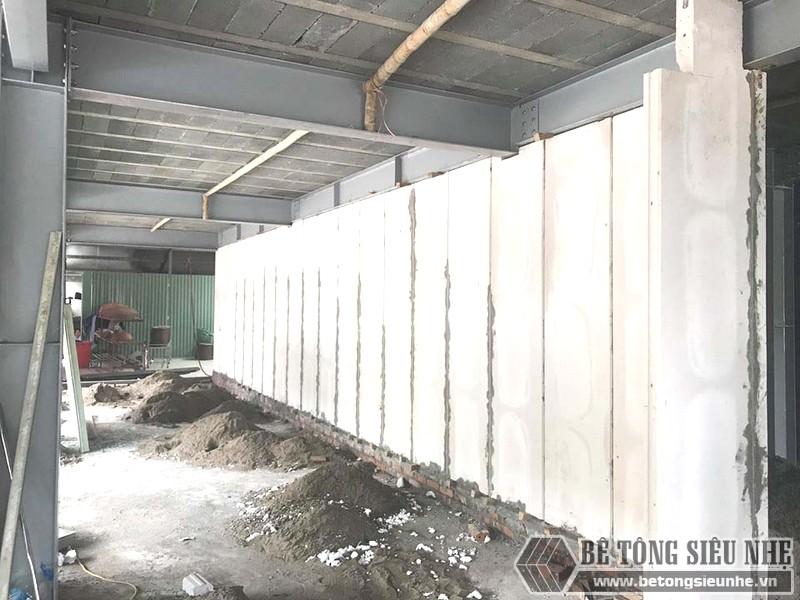 Tấm tường bê tông siêu nhẹ sau khi thi công, lắp ghép thành tường