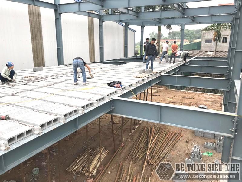 Xây nhà khung thép 3 tầng kết hợp sàn bê tông nhẹ Xuân Mai tại Đông Anh, Hà Nội - 06