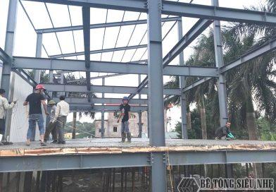 Xây nhà khung thép 3 tầng kết hợp sàn bê tông nhẹ tại Đông Anh, Hà Nội