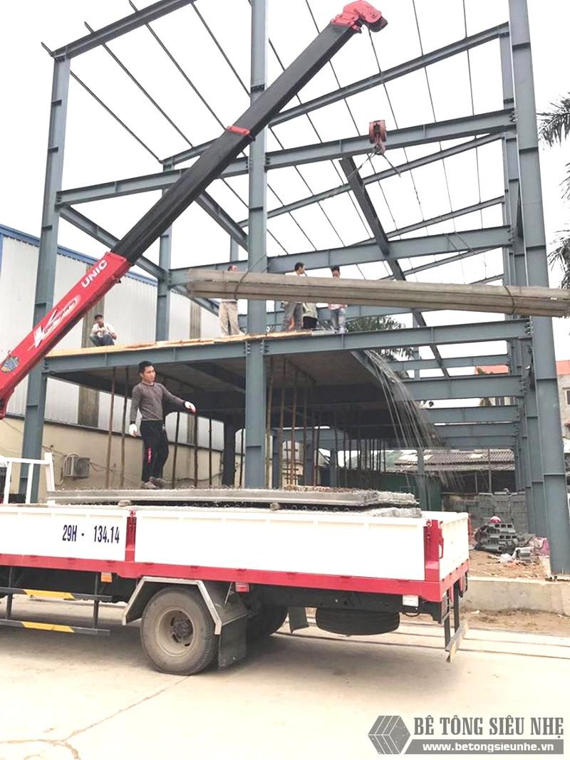 Xây nhà khung thép 3 tầng kết hợp sàn bê tông nhẹ Xuân Mai tại Đông Anh, Hà Nội - 01