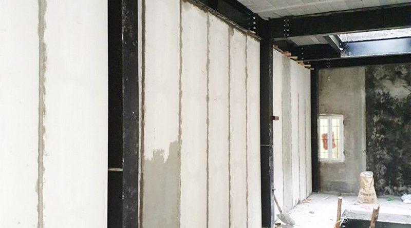 Tấm tường bê tông nhẹ thi công cùng khung thép tiền chế, sàn bê tông siêu nhẹ