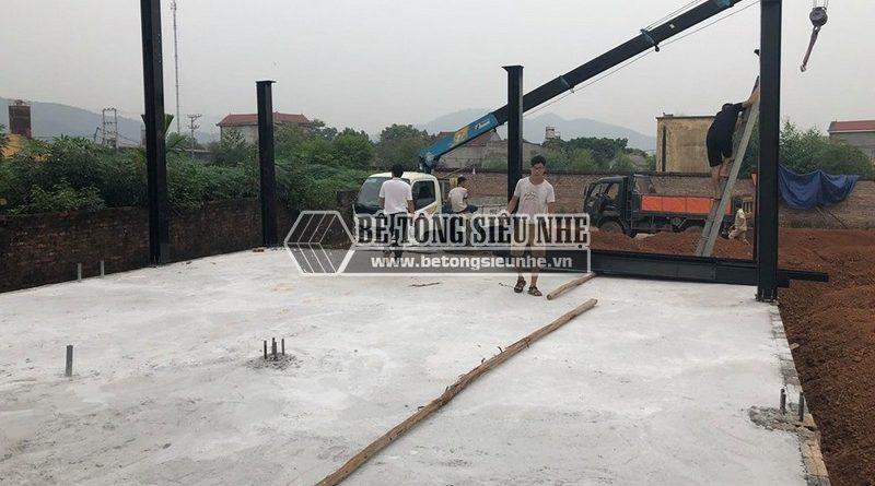Dựng nhà xưởng bằng hệ khung thép tại Phú Ninh, Minh Phú, Sóc Sơn, Hà Nội, nhà anh Ba